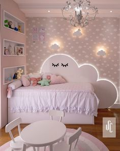we love this bedroom Beautiful bedroom for your kids with a cute cloud headboard . Baby Girl Room Decor, Baby Room Design, Girl Bedroom Designs, Baby Bedroom, Room Decor Bedroom, Girls Bedroom, Bedroom Shelves, Bedroom Signs, Bedroom Ideas