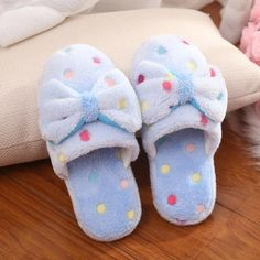 Soft Slippers, Cute Slippers, Girls Slip, Cute Sandals, Blue Bow, Cute Bows, New Blue, Candy Colors, Womens Shoes Wedges