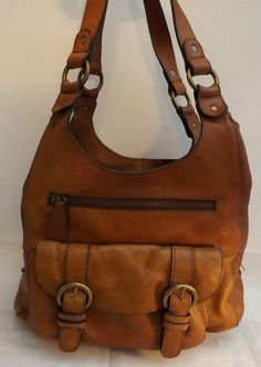Lovely Worn In Boho Tan Leather Shoulder Bag 5 Compartments Floral lining