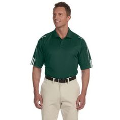 Adidas Golf mens ClimaLite (R) 3-stripes cuff polo. 100% polyester. Essential moisture management pique wicks away moisture from the skin for quick evaporation, keeping you dry and comfortable. Rib knit collar. Set-in, open-hem sleeves. Side vents. Contrast 3-stripes piping detail on sleeves. Three-button placket. Contrast heat-sealed adidas performance logo on back neck.