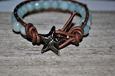 Amazonite Leather Wrap Bracelet With Starfish Button Beach Chic