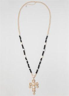 Bead Cross Pendant Necklace
