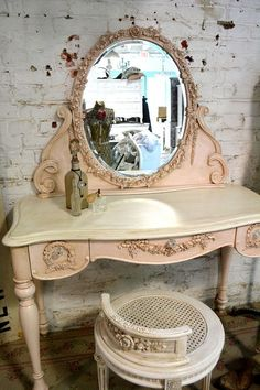 Painted Cottage Shabby Romantic Pink Vanity by paintedcottages