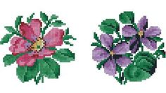 2 small patterns with violets and wild roses for by Smilylana