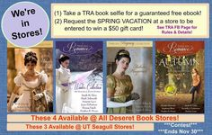 OUR ANTHOLOGIES ARE NOW IN STORES!!! Celebrate with us!  Here's how: (1) Visit a Deseret Book or Seagull store and take a selfie with one of the four Timeless Romance collections shown here. Post the picture on Facebook, tag us, and you'll get one anthology FREE! (2) At the register, ask a Deseret Book or Seagull employee to request our SPRING VACATION COLLECTION to come to stores too. Let us know you did it (and where!), and you'll be entered into a drawing for a $50 Amazon gift card…