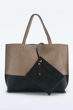 Reversible Vegan Leather Taupe & Black Colorblock Tote Bag