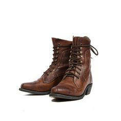 Brown Lace Up Ankle Boots Square Toe Western Grannies By Silver Rebel Women size 6 1/2 C
