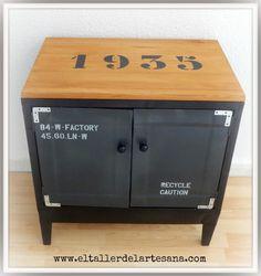 Mueble auxiliar metálico con sobre de madera. Paso a paso con fotos.
