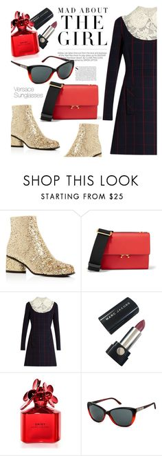 """""""Mad about the Girl"""" by smartbuyglasses-uk ❤ liked on Polyvore featuring Marc Jacobs, Marni, Miu Miu, Kershaw and Versace"""