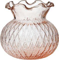 Vintage Glass Vase (4-Inch, Short Ruffled Design, Vintage Pink) - Decorative Flower Vase - For Home Decor and Wedding Centerpieces | Luna Bazaar