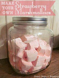 Homemade Strawberry Marshmallows | paintchipsandfrosting.com #valentinesday #diy