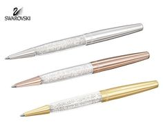 Swarovski Crystal STARDUST PEN SET OF 3 Silver/Gold/Rose Gold #5064411