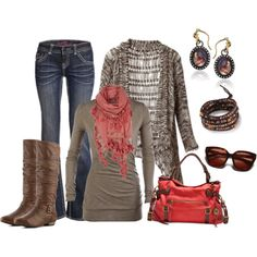 """Brown and Coral"" by smores1165 on Polyvore"