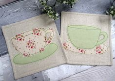 Mr & Mrs Drinks Coasters - Floral Tea Cup Coasters - Anniversary Gift £12.00
