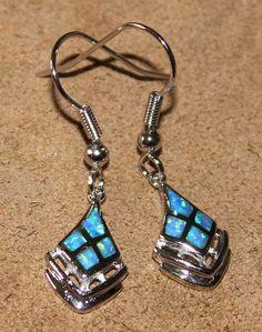 blue fire opal earrings Gemstone silver jewelry vintage style VG98V