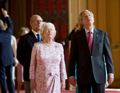George W. Bush pulled out all the stops when he hosted Queen Elizabeth II at the White House in 2007. The state dinner was the only white tie event that Bush held at the White House. Here Bush and the Queen walk with Prince Philip through St. George's Hall at Windsor Castle in England June 15, 2008.