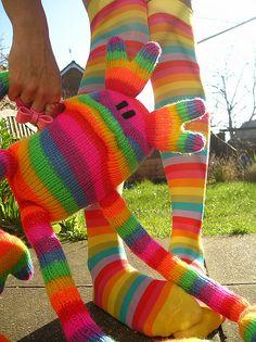 long striped socks = cute stuffed creatures