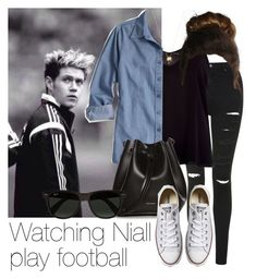 """Watching Niall play football"" by style-with-one-direction ❤ liked on Polyvore featuring Topshop, River Island, Rachael Ruddick, Joolz by Martha Calvo, Converse, Ray-Ban, OneDirection, 1d, NiallHoran and niall horan one direction 1d"