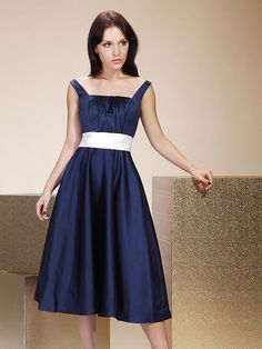 Tea-length Satin Bridesmaid Dress - Dark Navy Plus Sizes / Petite A-line / Princess Straps / Square - USD $69.99