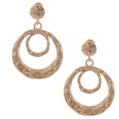 Erica Lyons Gold Gold Metal Update Earrings ($7.20) ❤ liked on Polyvore featuring jewelry, earrings, gold, yellow gold jewelry, gold earrings jewelry, gold circle earrings, gypsy hoop earrings and gypsy jewelry