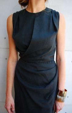 Women's fashion | Chic dark grey dress and oversized bracelets