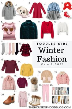 A roundup of 24 budget friendly winter clothing and accessories for toddler girls that I've found while scouring the internet! The cold weather will be here before we know it, so I want to make sure I am ready when we have to head out the door in cooler t Toddler Girl Fall, Toddler Girl Style, Toddler Girl Outfits, Toddler Fashion, Kids Fashion, Teen Style, Toddler Boys, Toddler Hair, Latest Fashion