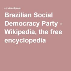 Brazilian Social Democracy Party - Wikipedia, the free encyclopedia