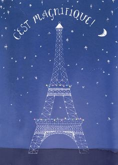 Artist Amy Burrell. Eiffel Tower Illustration for a collection of stationery by Galison.