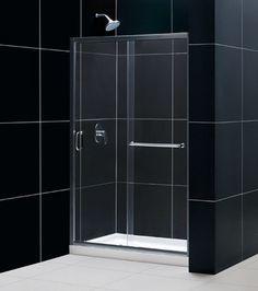 dreamline infinityz 44 to sliding shower door clear glass nickel finish 44 48 in w x 72 in