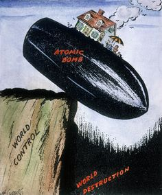 This Pulitzer Prize–winning cartoon by Rube Goldberg shows the atomic bomb teetering between world...