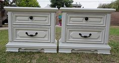 SHABBY CHIC/FRENCH PROVINCIAL 2 NIGHT STANDS/SIDE TABLES COTTAGE WHITE