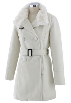 Double Breasted Belted Trench Coat in Cream - New Arrivals - Retro, Indie and Unique Fashion