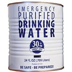Canned Emergency Drinking Water with a year shelf life has become the new disaster preparedness choice for governmental agencies, hospitals, public institutions as well as families and businesses. Hurricane Preparedness, Disaster Preparedness, Survival Prepping, Doomsday Prepping, Water Storage, Food Storage, Storage Ideas, Emergency Preparation, Emergency Planning