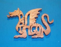 Dragon Wooden Scroll Saw Puzzle by huebysscrollsawart on Etsy, $12.00