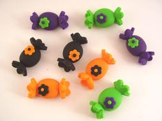 Polymer Clay Halloween Candy Beads or Bow Centers. $5.00, via Etsy.