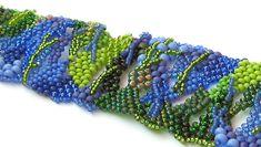 Freeform peyote bracelet Beaded jewelry OOAK Beadwork by Aqvatali,