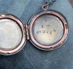 i am enough  a whispered soul mantra locket by lizlamoreux on Etsy, $44.00