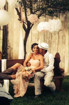 Rustic wedding, country wedding, barn wedding, pink wedding dress, cowgirl boots