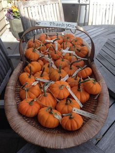 Pumpkin Favors for fall baby shower  http://www.oursweetenedlife.com