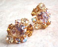 Sleek Black and Gold Clip on Earrings Elegant Evening Earrings Vintage Clip Earrings