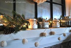 Sweet DIY Anthroplogie-inspired wool Pom Pom Garland - easy with simple wood-and-nails pom-pom maker! An Oregon Cottage