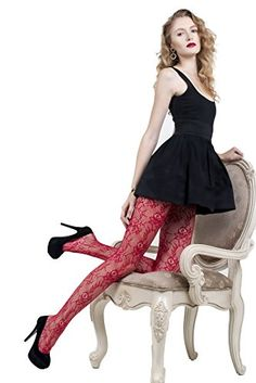 ICONOFLASH Womens Patterned Fishnet Stocking Tights Red Lace Queen -- Continue to the product at the image link.