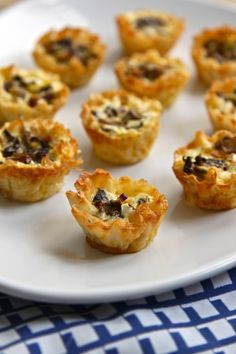 Mushroom, Leek and Goat Cheese Mini Quiche in Phyllo Cups | TheCornerKitchenBlog.com #recipe #brunch