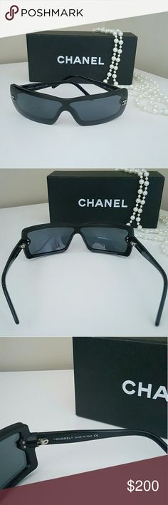 LOWERED⏬Chanel sunglasses Lowered from 200 asking price; FINAL.   Authentic and comes ONLY with box as seen in photo (no cleaning cloth). Black with silver CCs on both sides of frames. Has some light scratches on lens as seen as best as I could capture in photos, but nothing deep, and you can't see them when wearing it. Looks classy and also biker chick hot. CHANEL Accessories Sunglasses