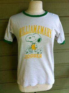 Vintage Snoopy Champion Blue Bar William & Mary 70's Ringer Peanuts T Shirt.