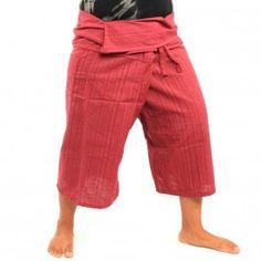 3/5 Pescadores tailandeses pantalón de algodón - rojo-