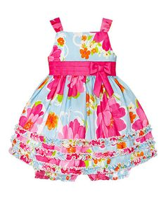 Look at this #zulilyfind! Blue & Pink Floral Ruffle Dress & Bloomers - Infant #zulilyfinds