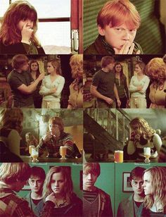 Dirt on Your Nose. Ron Weasley and Hermione Granger. Rupert Grint and Emma Watson. <<<<<I keep looking at the last picture and thinking 'poor Harry. Photo Harry Potter, Memes Do Harry Potter, Mundo Harry Potter, Harry Potter Ships, Harry Potter Tumblr, Harry Potter Cast, Harry Potter Love, Harry Potter Fandom, Harry Potter World