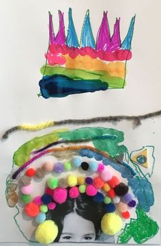 Art Class: Children use this one prompt to create imagination-filled portraits Projects For Kids, Art Projects, Crafts For Kids, Arts And Crafts, Kindergarten Art, Preschool Art, Art Activities For Kids, Art For Kids, Journal Vintage