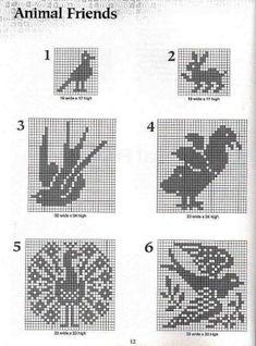 101 Filet Crochet Charts - peacock, birds, rabbit